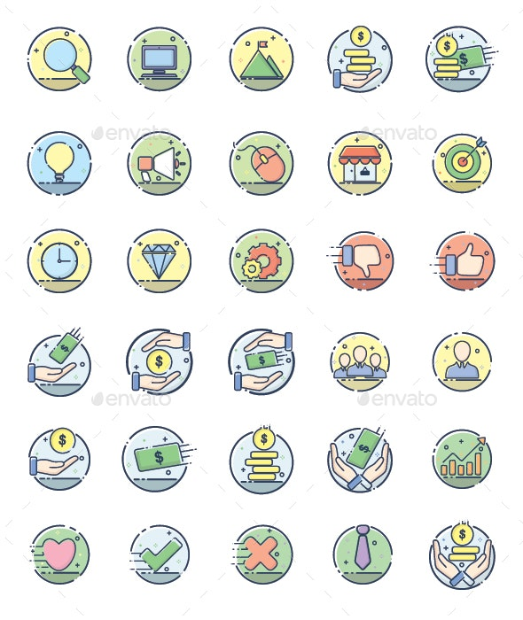 30 Line Filled Business Icon - Business Icons