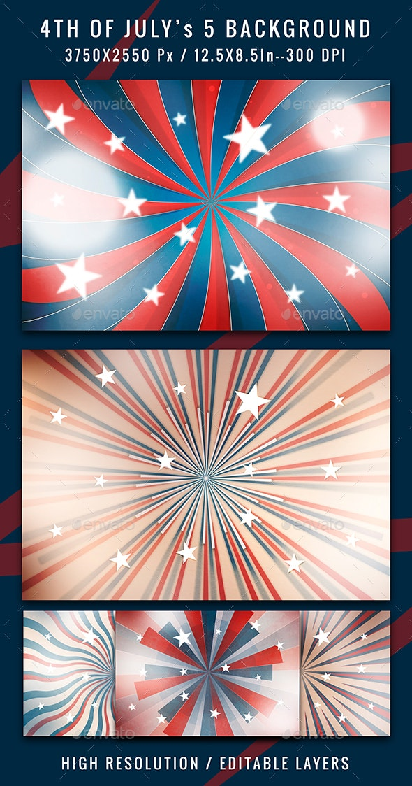 4th of July Rays 5 Backgrounds - Backgrounds Graphics