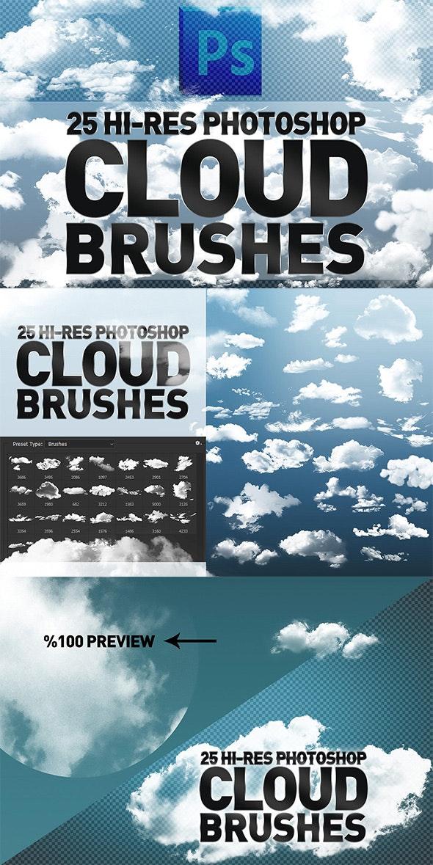 25 Hi-Res Cloud Brushes - Brushes Photoshop