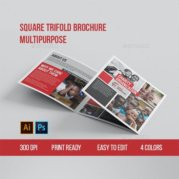Multipurpose Trifold Square Brochure