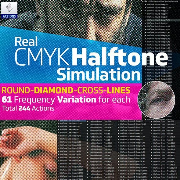 Real CMYK Halftone Simulator Actions