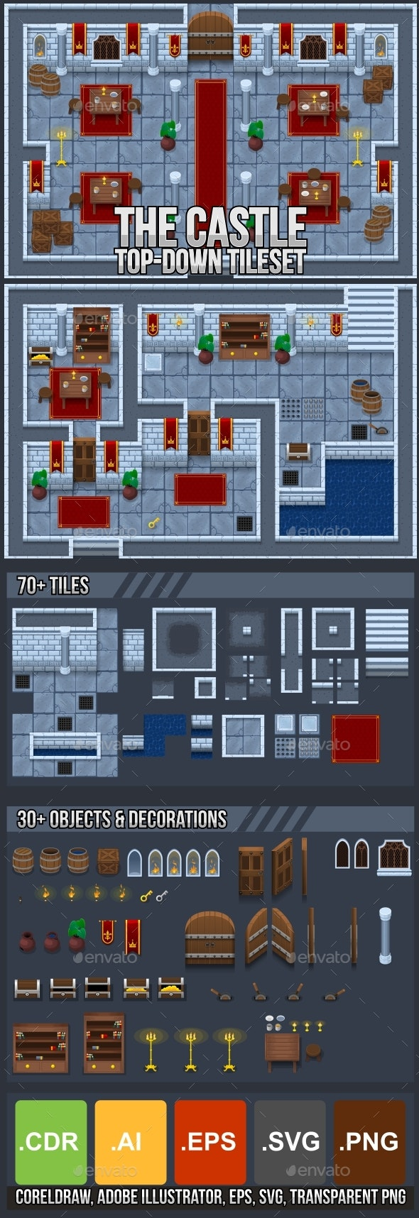 The Castle - Top Down Tileset - Tilesets Game Assets