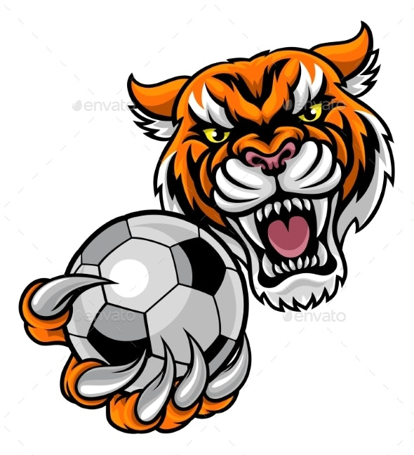 Tiger Holding Soccer Ball Mascot - Sports/Activity Conceptual