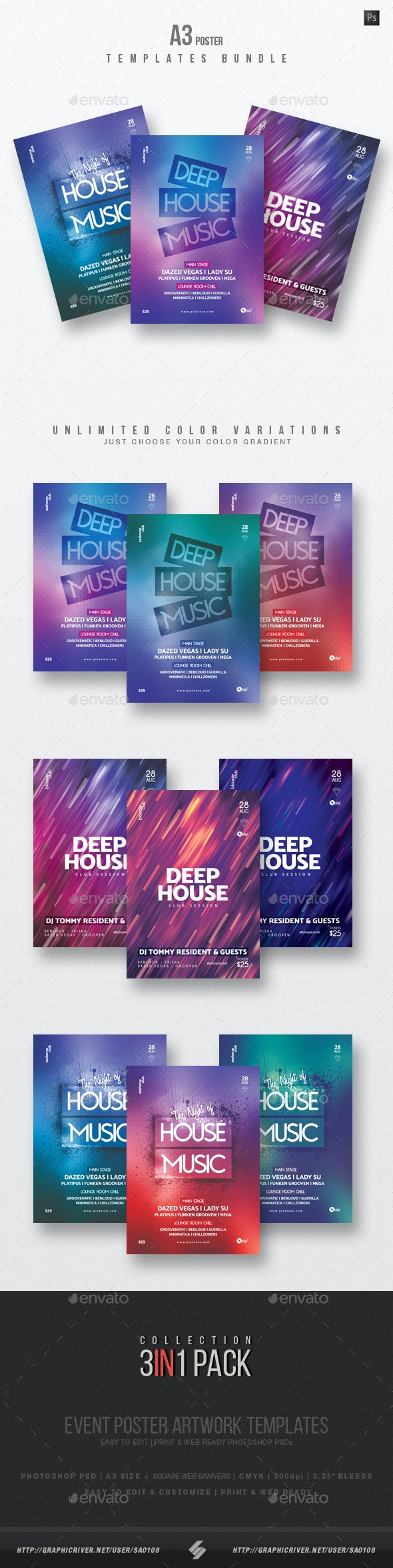 House Music 5 - Party Flyer / Poster Templates Bundle - Clubs & Parties Events