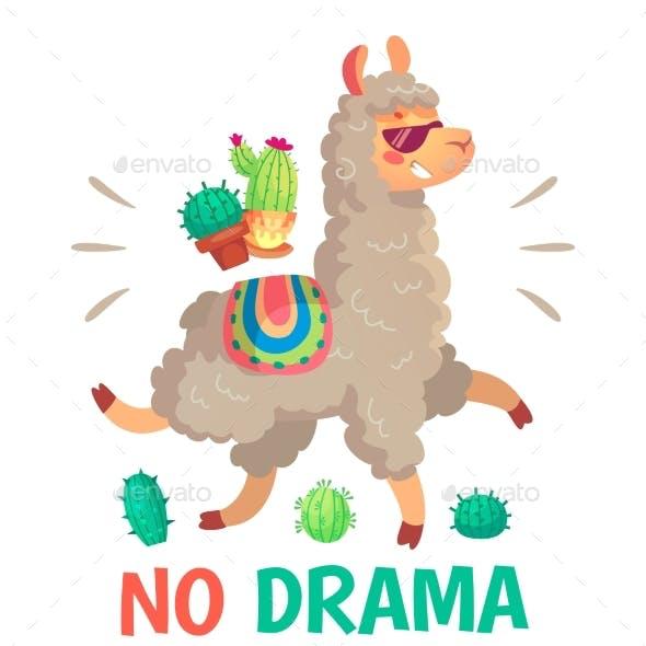 Motivation Lettering with No Drama Llama