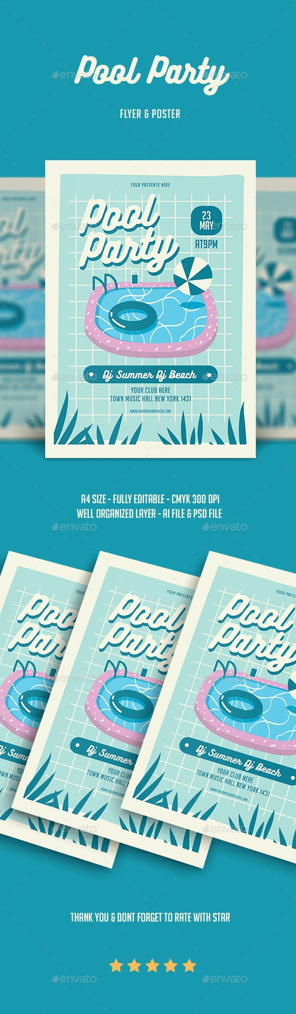 Pool Party Flyer - Flyers Print Templates