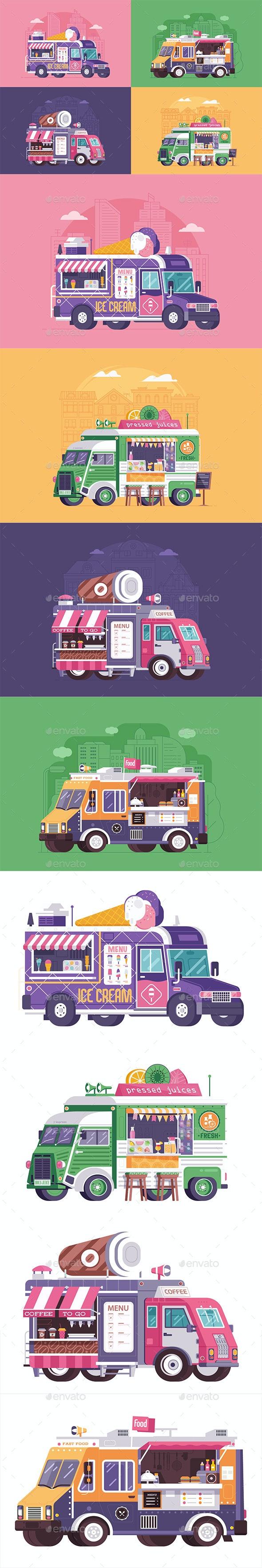 Street Food Trucks and Vans - Vectors