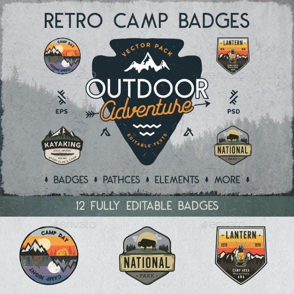 Retro Camp Badges Collection