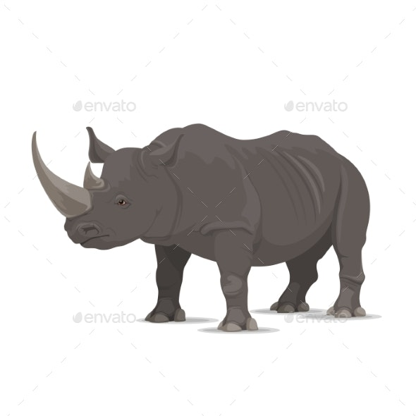 Rhinoceros Vector Wild Animal Isolated Icon - Animals Characters
