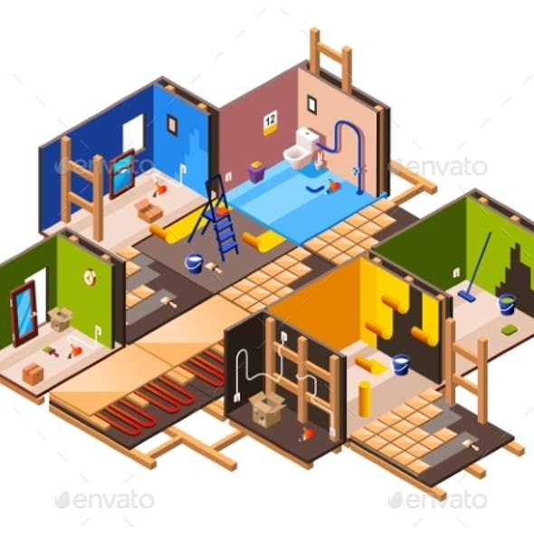 Vector Isometric Home Renovation, Repair Set