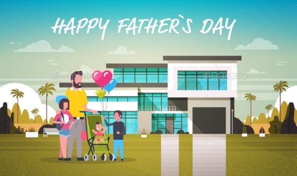 Happy Father Day Family Holiday Daughter, Son and - Seasons/Holidays Conceptual