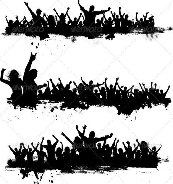 Grunge Crowd Scenes - People Characters