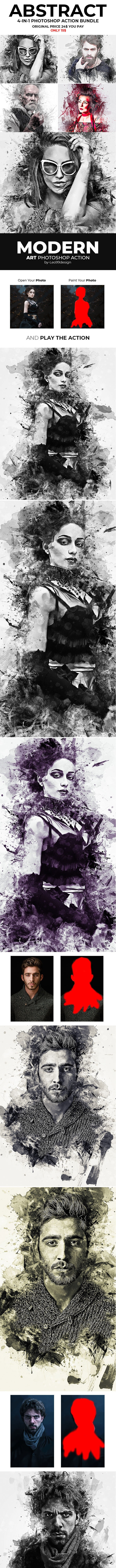 Abstract 4 in 1 Photoshop Action Bundle - Photo Effects Actions