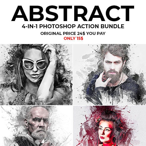 Abstract 4 in 1 Photoshop Action Bundle