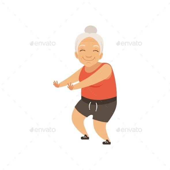 Grey Senior Woman in Sports Uniform Doing Squats