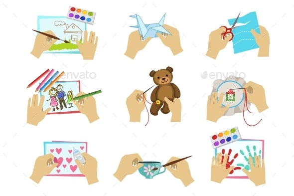 Hands Doing Different Crafts - Backgrounds Decorative