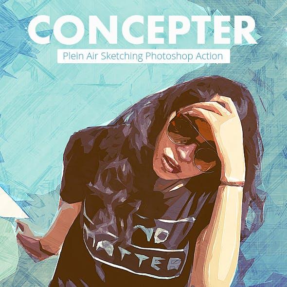 Concepter - Plein Air Sketch Photoshop Action