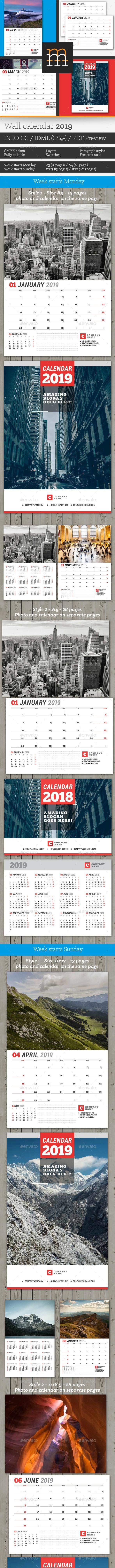Wall Calendar 2019 - Calendars Stationery