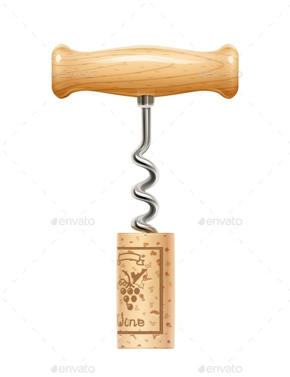 Corkscrew with Cork - Man-made Objects Objects