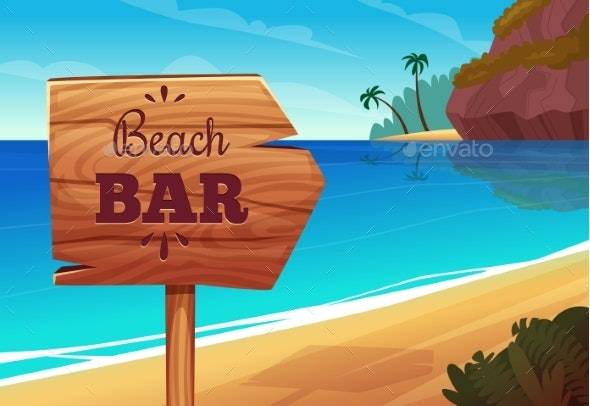 Summer Background with Wooden Signboard to Bar - Landscapes Nature
