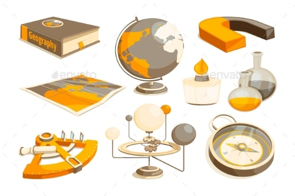 Symbols of Science and Geography - Man-made Objects Objects