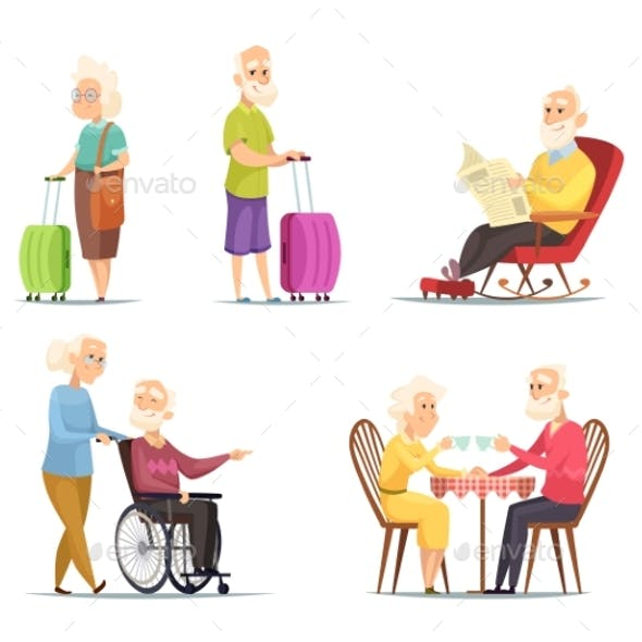 Vector Characters Set of Elderly Peoples