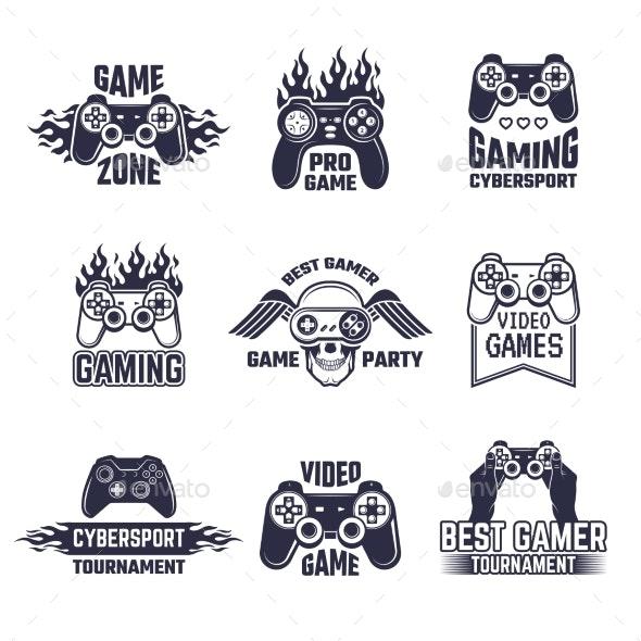 Cyber Sport Badges and Labels - Decorative Symbols Decorative