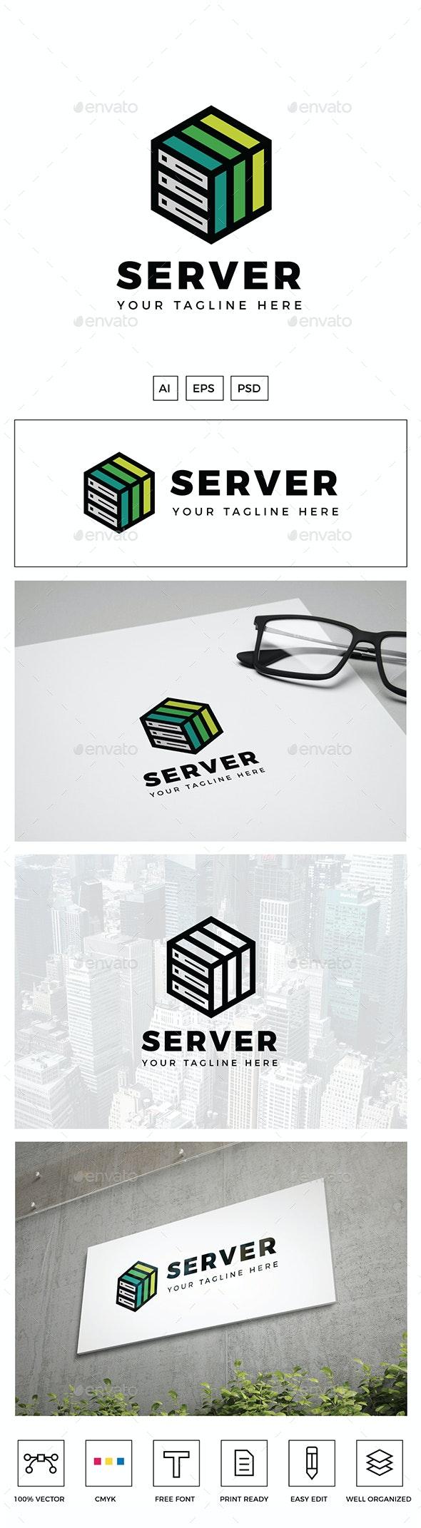 Green Server Logo - Objects Logo Templates