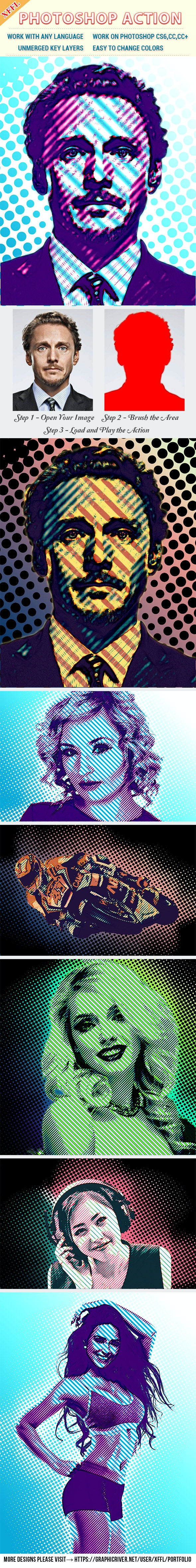 Halftone Pattern Effect Photoshop Action - Photo Effects Actions