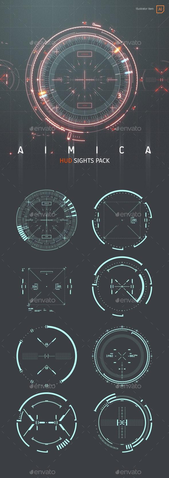 AIMICA: HUD Sights for Futuristic GUI - User Interfaces Web Elements