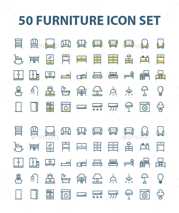 50 Furniture Icon Set - Objects Icons