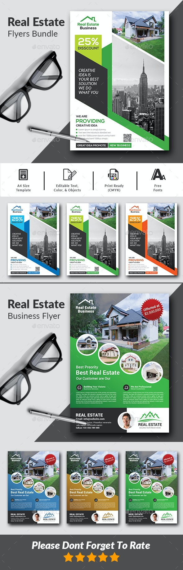 Real Estate Flyers Bundle Template - Corporate Flyers