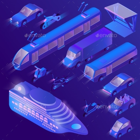 Vector Isometric Ultra Violet Urban Transport - Man-made Objects Objects