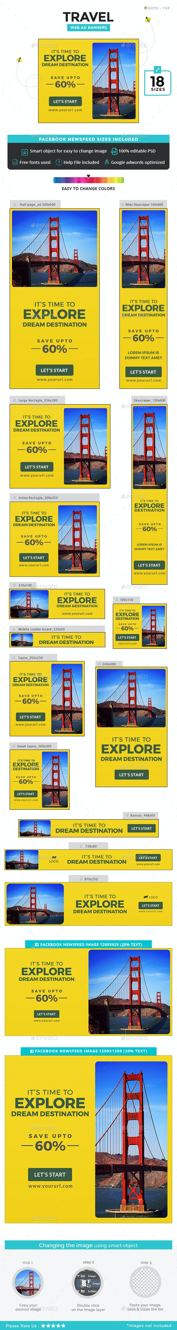 Travel Banners - Updated! - Banners & Ads Web Elements