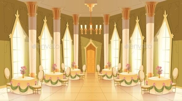 Vector Cartoon Castle Hall - Backgrounds Decorative