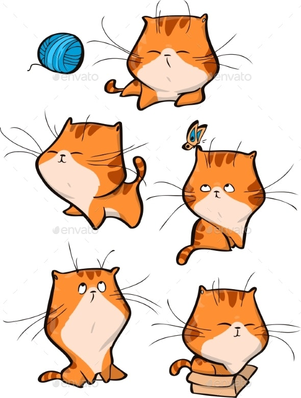 Vector Set of Orange Tabby Cat Characters - Animals Characters