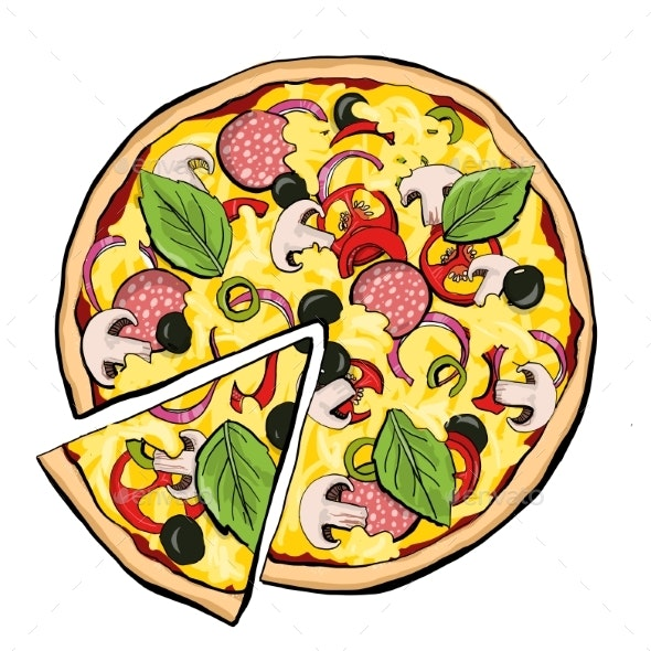 Pizza Pepperoni with Slice - Food Objects