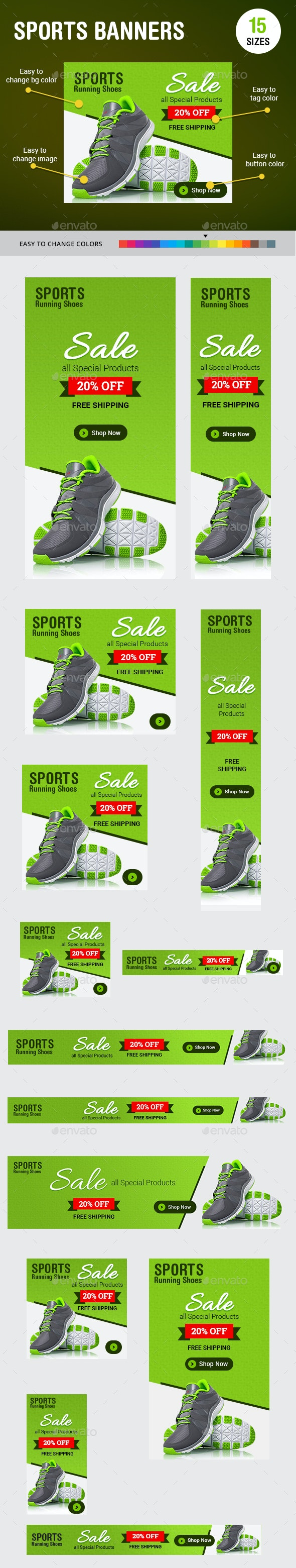 Sports Running Shoes Banners - Banners & Ads Web Elements