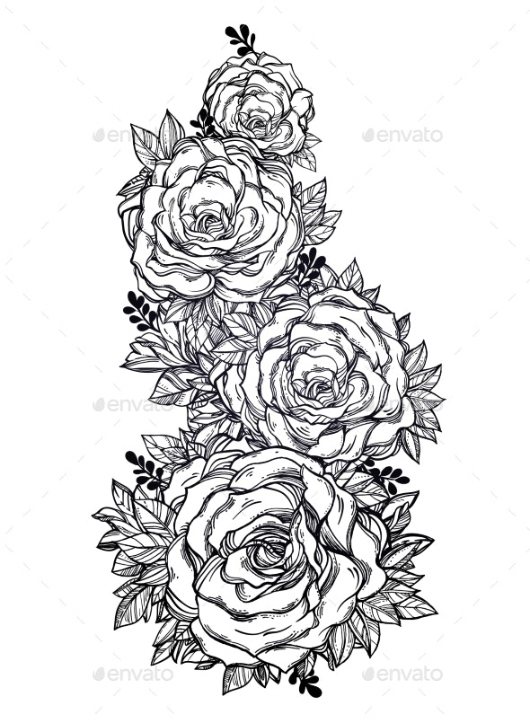 Vintage Floral Highly Detailed Hand Drawn Rose - Flowers & Plants Nature