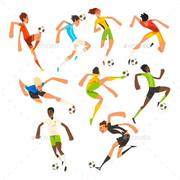 Soccer Player Set, Football Athletes Playing - Sports/Activity Conceptual