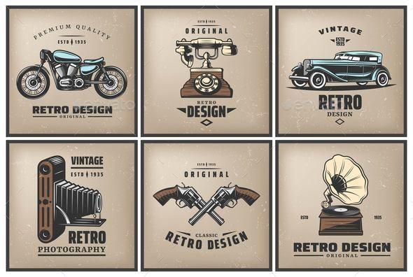 Vintage Colored Posters Set - Miscellaneous Vectors