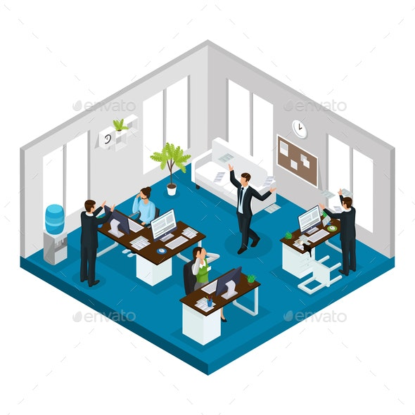 Isometric Stress at Work Concept - People Characters