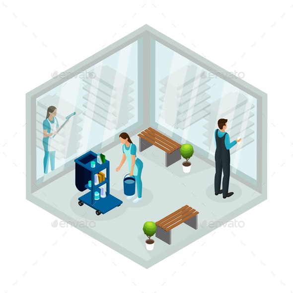 Isometric Cleaning Service Concept - People Characters