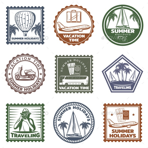 Vintage Summer Vacation Stamps Set - Miscellaneous Vectors