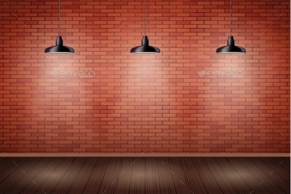 Brick Wall Room with Vintage Lamps - Backgrounds Decorative