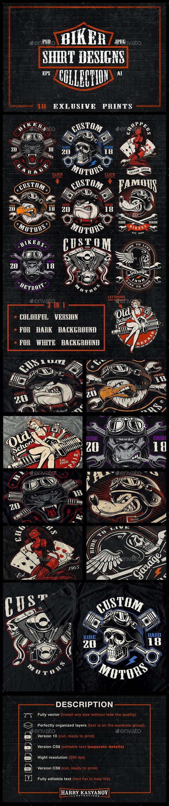 Bikers Shirt Designs Bundle - Designs T-Shirts