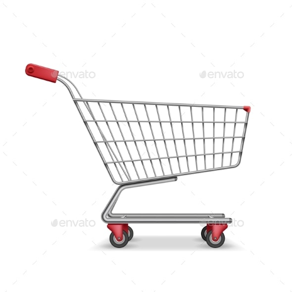 Empty Metallic Supermarket Shopping Cart Side View - Miscellaneous Vectors