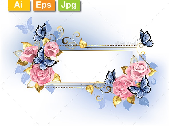 Narrow Banner with Pink Roses - Borders Decorative