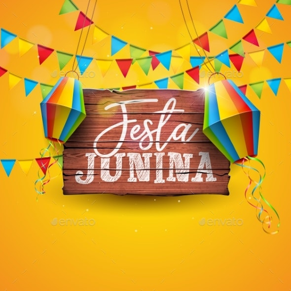 Festa Junina Illustration with Party Flags - Backgrounds Decorative