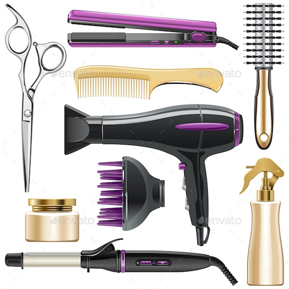 Vector Hair Styling Icons - Man-made Objects Objects